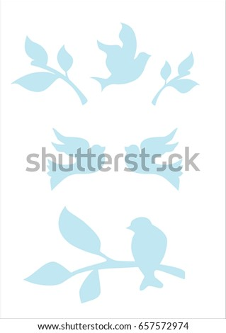 Blue silhouettes of birds and tree branches
