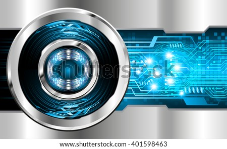 Blue silver abstract hi speed internet technology background illustration. eye scan virus computer. vector