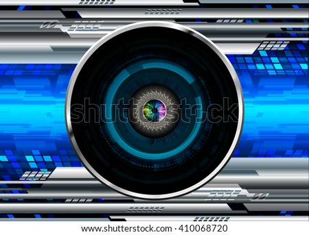Blue silver abstract hi speed internet technology background illustration. eye scan virus computer. move. motion