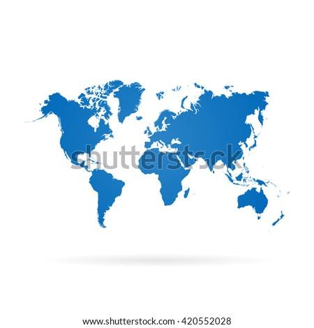 Blue similar world map. World map blank. World map vector. World map flat. World map template. World map object. World map paper. World map infographic - stock vector