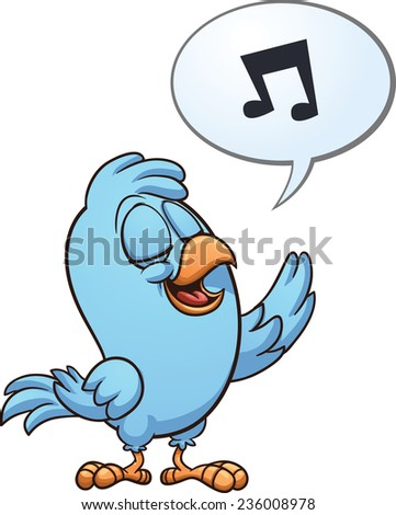 Blue singing bird. Vector clip art illustration with simple gradients. All in a single layer. - stock vector