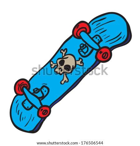 blue skateboard with skull cartoon doodle - stock vector