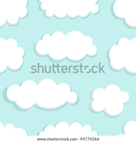 Blue sky and clouds seamless. Vector illustration