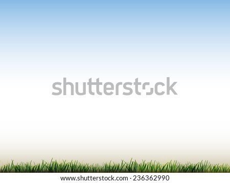 blue sky and field of green grass background  - stock vector