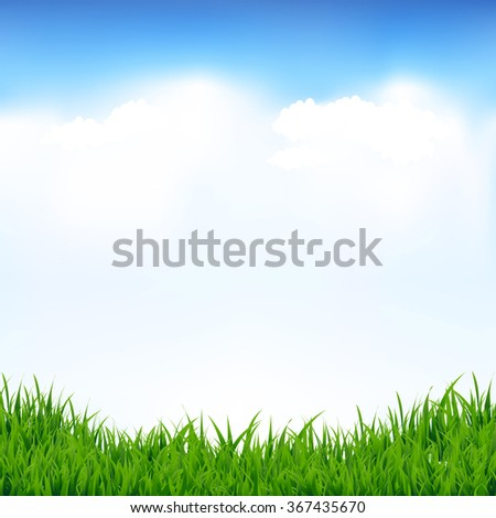 Blue Sky And Greeen Grass With Gradient Mesh, Vector Illustration - stock vector