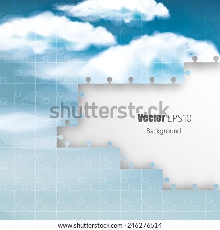 Blue sky business solution concept - cloud jigsaw - stock vector
