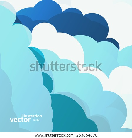 Blue sky clouds illustration, colorful art background, vector eps10 - stock vector
