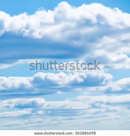 blue sky clouds mesh vector illustration background - stock vector
