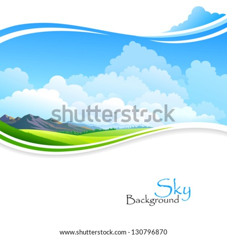 Blue sky ,Green fields and distant Hills - stock vector