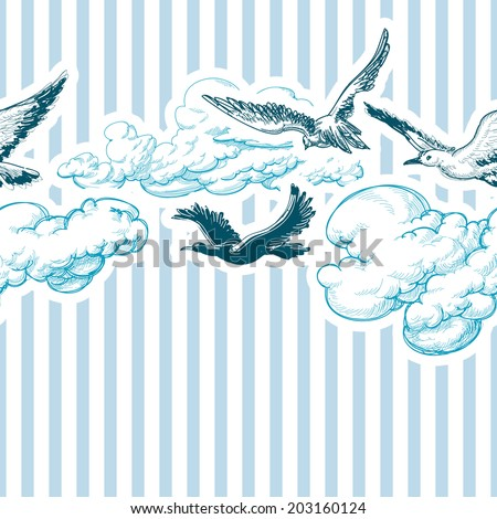 Blue sky pattern, clouds and birds - stock vector