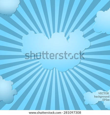 Blue sky shine with clouds and place for text. Vector illustration. - stock vector