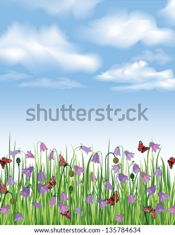 Blue sky with clouds and flower bluebell field. Vector spring background.