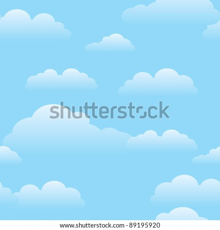 Blue sky with clouds pattern. - stock vector