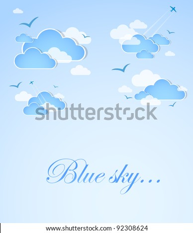 Blue sky with clouds. Vector - stock vector