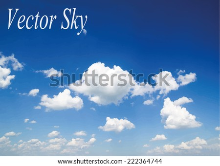 Blue sky with clouds. Vector background - stock vector