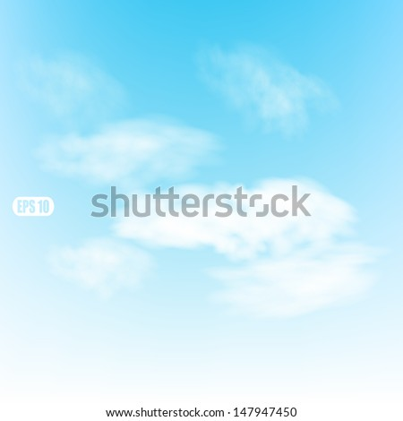 Blue sky with clouds. Vector background of white cloud detail in a blue sky.   - stock vector