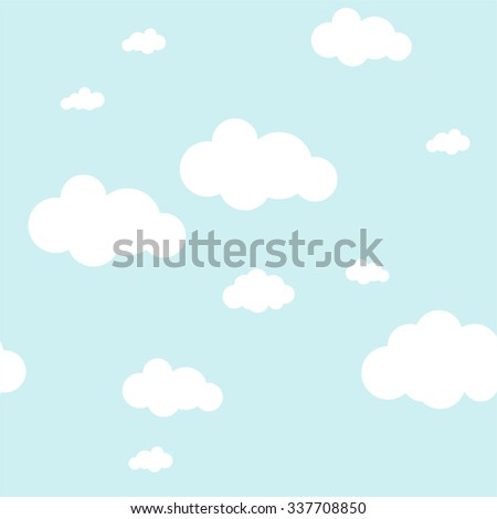 Blue sky with clouds, vector seamless background