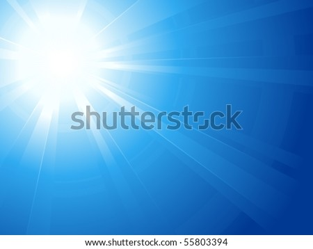 Blue sky with glaring sun. Abstract background, asymmetric light burst with the center in the upper left third. Use of linear and radial gradients. Artwork grouped and layered. Global colors.