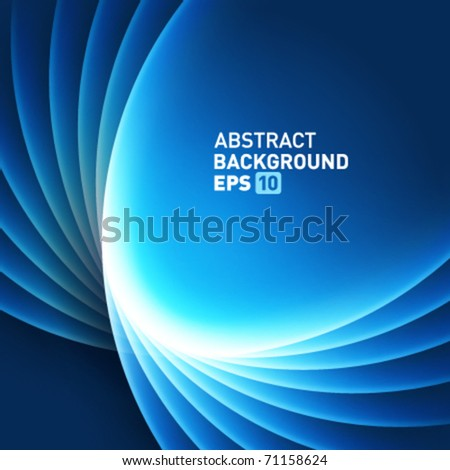 Blue smooth light lines vector background - stock vector