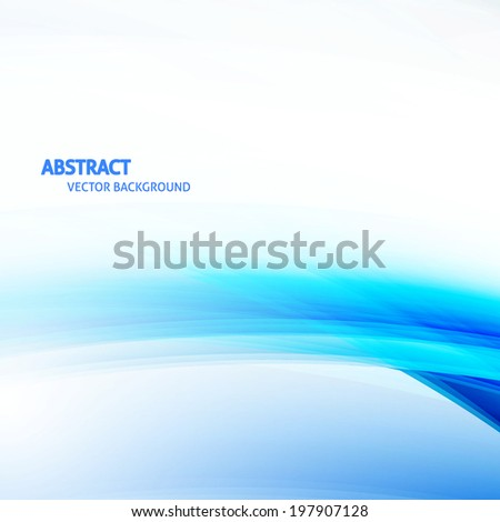 Blue Smooth Light Wave Abstract Background. Curved lines. Design Template - stock vector