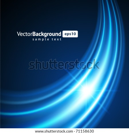 Blue smooth twist light lines vector background - stock vector