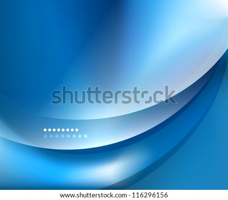 Blue smooth wave template. Abstract background - vector eps10 illustration