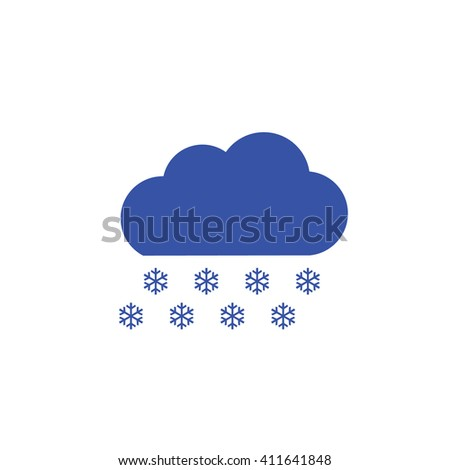 Blue snow cloud vector icon. Weather forecast - stock vector