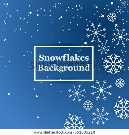 Blue snowflake background. Vector, illustration.