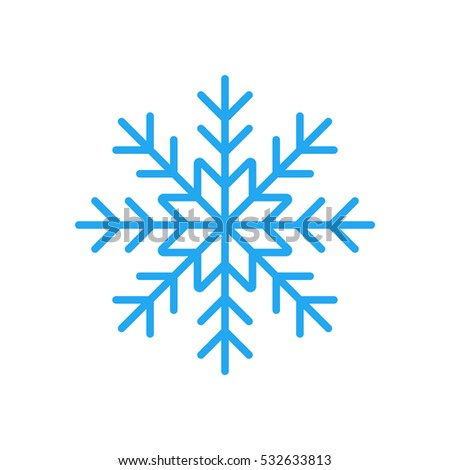 Blue Snowflake Flat Icon Snow Pictogram Stock Vector Hd Royalty