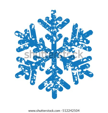 Blue snowflake isolated on white background.Poster for New Year's greetings.Winter abstraction