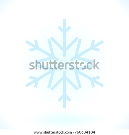 Blue snowflake vector icon isolated on white. Simple snow logo. Winter symbol for web design
