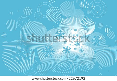 blue snowflakes and lines