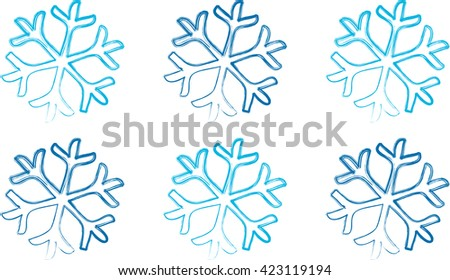 Blue Snowflakes on a white background - stock vector