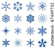Blue Snowflakes Part I - stock vector