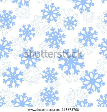 Blue snowflakes vector seamless pattern. Christmas background - stock vector