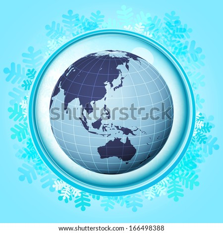 blue snowy circle frame with frozen smart phone inside vector illustration - stock vector