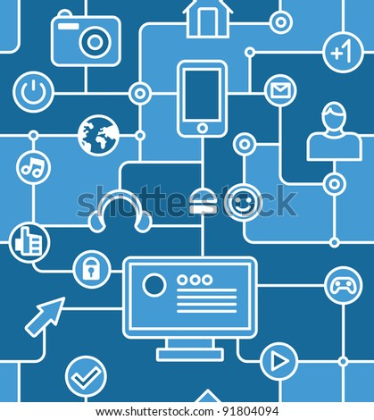 blue social media and internet seamless pattern - vector illustration