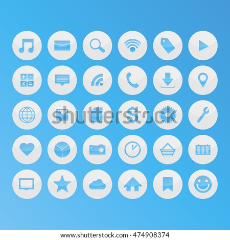 Blue social media icons. Vector illustration