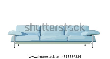 Blue sofa on white background