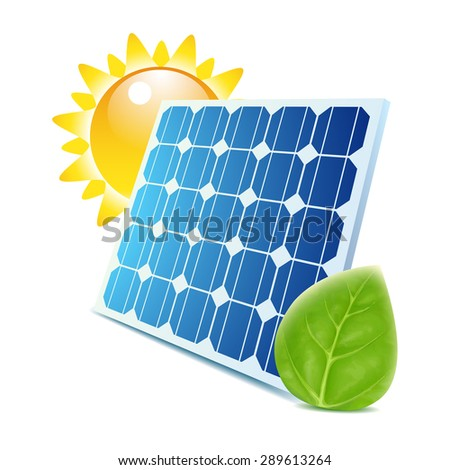 Blue solar panel with green leaf and sun icons isolated