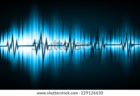 Blue Sound wave background suitable as a backdrop for music, technology and sound projects. Blue Heart pulse monitor with signal. Heart beat. - stock vector