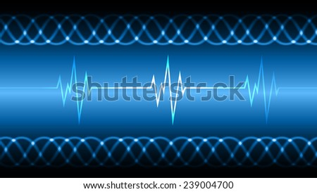 blue Sound wave background suitable as a backdrop for music, technology and sound projects. Heart pulse monitor with signal. Heart beat.  - stock vector
