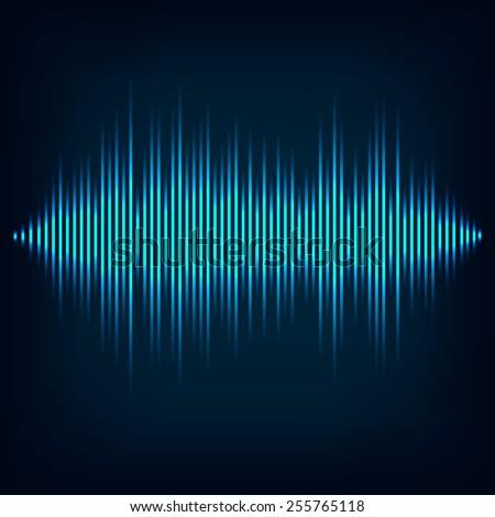 Blue sound wave on black background. + EPS10 vector file - stock vector