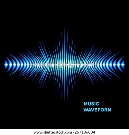 Blue sound waveform with sharp thorn peaks around - stock vector