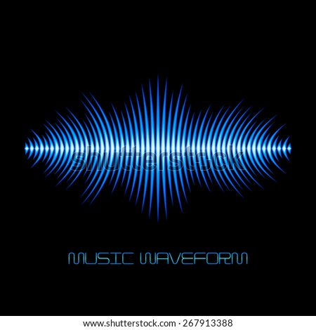 Blue sound waveform with sharp thorn peaks around - stock vector