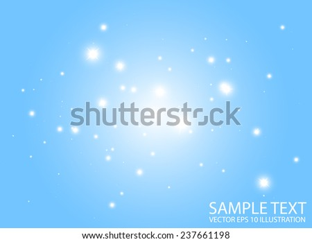 Blue space abstract flares decorative vector template - Blue glittering abstract vector  background illustration - stock vector