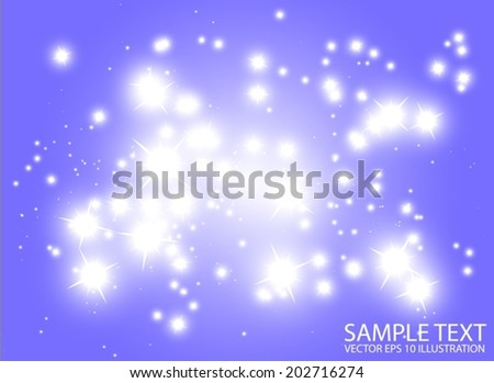 Blue space flares decorative template - Shiny blue glittering design background illustration - stock vector