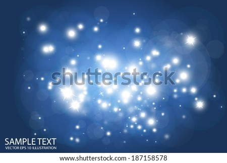 Blue space vector background  flare illustration - Vector shiny blue sparks background illustration - stock vector