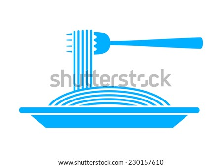 Blue spaghetti icon on white background - stock vector