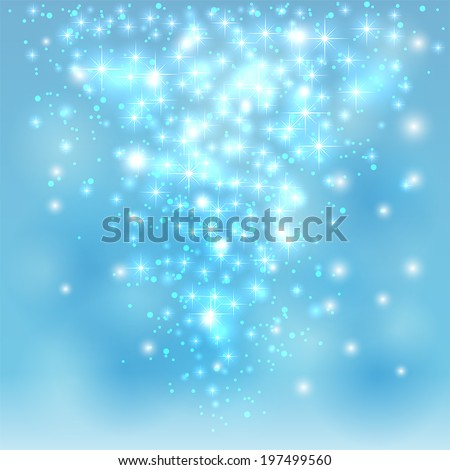 Blue sparkling background with stars and blurry lights, illustration. - stock vector